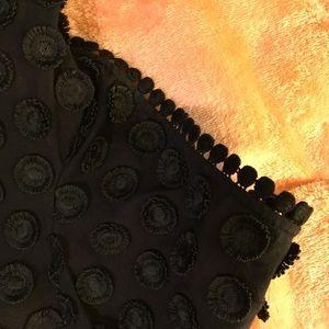 Blouse Short Sleeve Black with Raised Rosette
